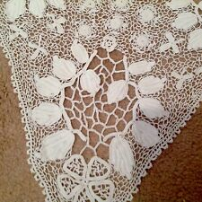 BELLA antica/vintage HAND Crochet Pizzo Corpetto Abito Bianco/GRUPPO Collare