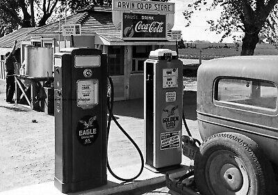 Vintage Norwalk Gas Station PHOTO Pumps Oil Great Depression California 1940