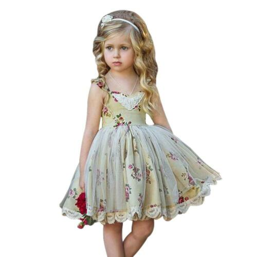 Floral Lace Dress Girls Kids Square Collar Summer Mesh Princess Dresses