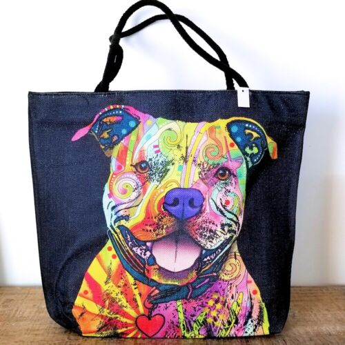 NWT Dean Russo Pittie Pitbull Dog Large Tote Bag Woven Poly Canvas Rope Handle
