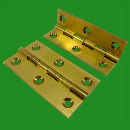 """2x Solid Brass 3/"""" 75mm Door Butt Hinges Lounge Bathroom Study Kitchen Bedroom"""