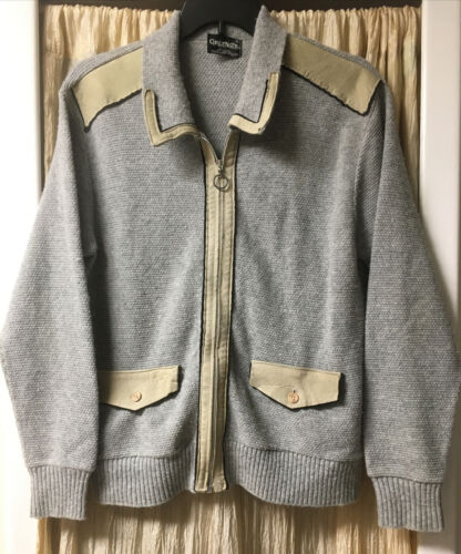 VINTAGE Challenger Cardigan Sweater W/Suede leathe