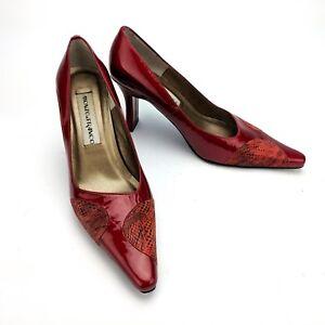 Monzo-amp-Franco-Tara-Red-Heels-Pumps-2262-Faux-Snakeskin-Detail-Size-6-5M-GUC