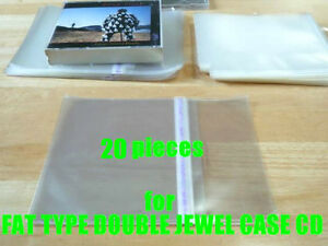 20-pieces-Resealable-Outer-Plastic-Sleeves-for-FAT-TYPE-DOUBLE-CD-Jewel-Cases