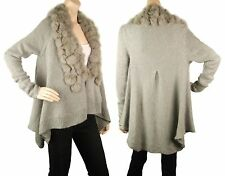 ConMiGo CD600 Glamorous Grey Angora Cardigan with Genuine Fur Pon Pon Collar