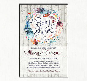 Details About Boho Baby Shower Invitation Rustic Invites Bohemian Bridal Brunch Feather Unisex