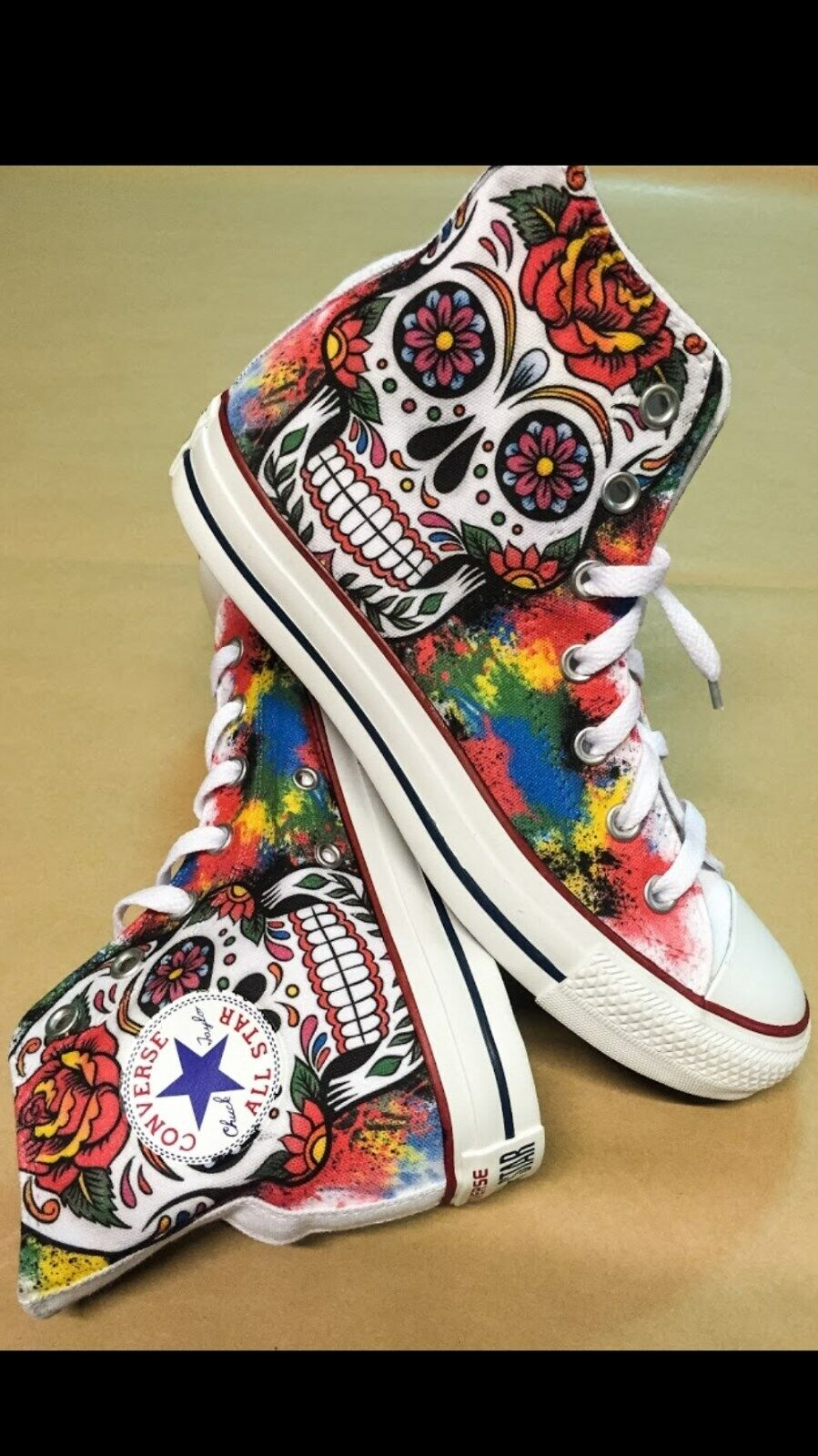 Converse all Star Printed Mexican Skull and Pink and Splatter Coloured