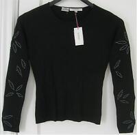 Women's Loulou Black Stretchy Shirt Glass Bead Design Long Sleeve Sz L