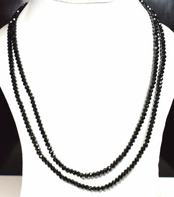 "4 Mm Black Spinel Gemstone Rondelle Faceted Beads 20 To 32"" Strand Necklace Good Companions For Children As Well As Adults"