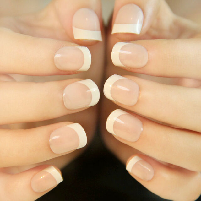 24Pcs Natural French Short False Nails Acrylic Full Artificial Nails Faux Ongles