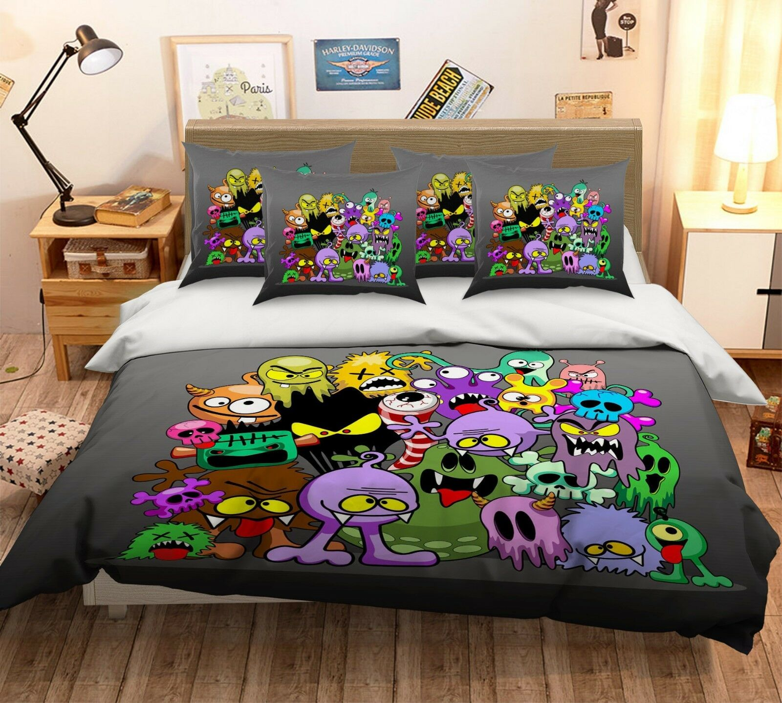 3D Graffiti Street76 Bed Pillowcases Quilt Duvet Cover Set Single Queen AU Carly