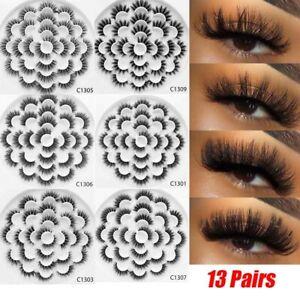 SKONHED-13Pairs-3D-Mink-Hair-False-Eyelashes-Natural-Wispies-Fluffy-Long-Lashes