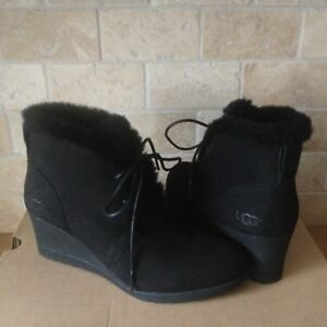 407c5954a13 UGG JEOVANA BLACK SUEDE WATERPROOF ANKLE WEDGE BOOTIES BOOTS SIZE US ...