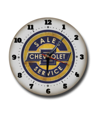 "CHEVROLET 250MM//10/"" DIAMETER METAL WALL CLOCK,GARAGE CLOCK.WORKSHOP CLOCK"