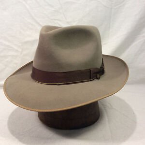 5cc373bc33 Taupe Gray Resistol Fedora Men s Vintage Hat with Brown Band -- Size ...