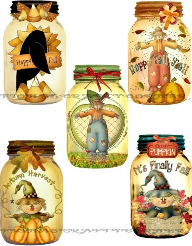 11 10 FALL MASON JAR SCARECROWS AUTUMN HANG GIFT TAGS FOR SCRAPBOOK PAGES