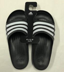 c8a6f8570 Image is loading Nwt-Mens-Adidas-Duramo-Slide-Black-White-Sandals-