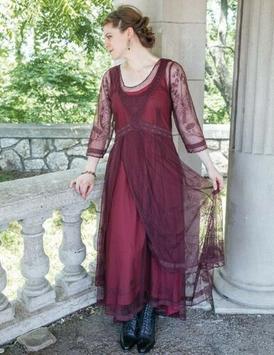 Victorian Trading Co Nataya Ruby Red Gown Tea Party Dress MD
