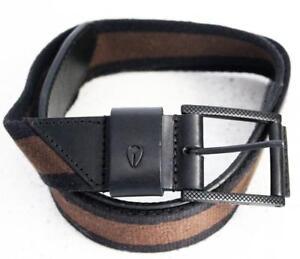 NIXON-Mens-034-Americana-034-FULL-GRAIN-Leather-and-Cloth-Belt-Size-Medium-Black-amp-Tan