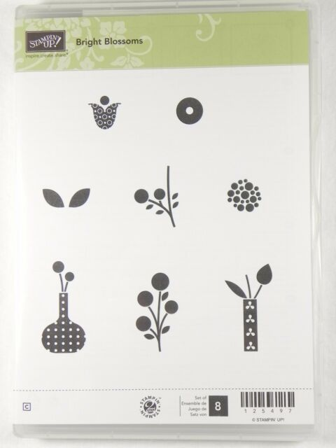 New Stampin Up BRIGHT BLOSSOMS Stamp Set Flower Leaves Vase Card Crafting