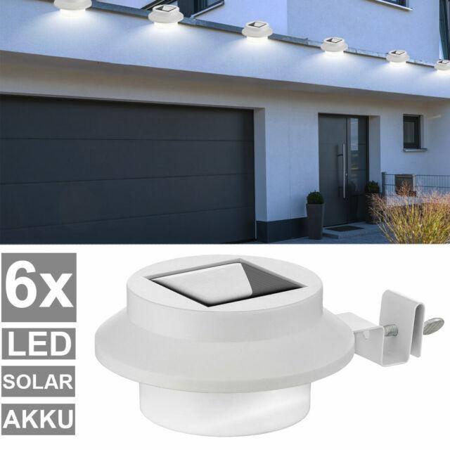 6LED Solar Leuchten Wandleuchte Außenlampe Dachrinnen Zaun Lampe Gartenle
