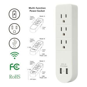 3-Outlet-Surge-Protector-Plug-Wall-Adapter-Tap-USB-Port-Charger-Power-Strip-USA