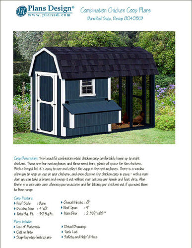 Material List Included #80408CB 4/' x 8/' Combination Barn Chicken Coop Plans