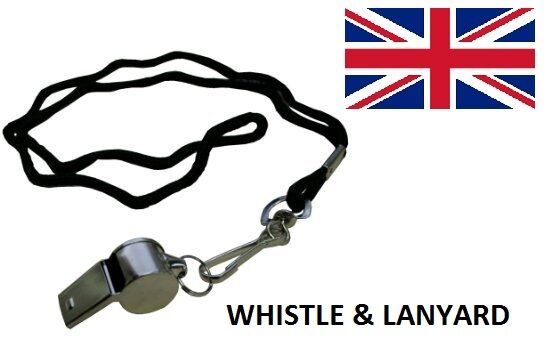 METAL REFEREE'S SPORTS WHISTLE & LANYARD - FREE SHIP - UK SELLER