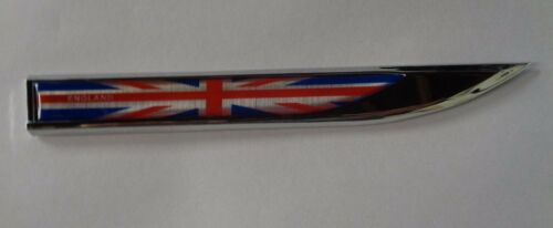 """MGF ALL MODELS PAIR /""""ENGLAND/"""" UNION JACK CHROME SIDE BADGES NEW PRODUCT FOR US"""