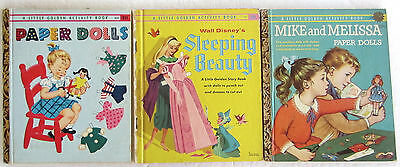 Little Golden Book Lot Mike and Melissa Paper Dolls Sleeping Beauty 1st Edition