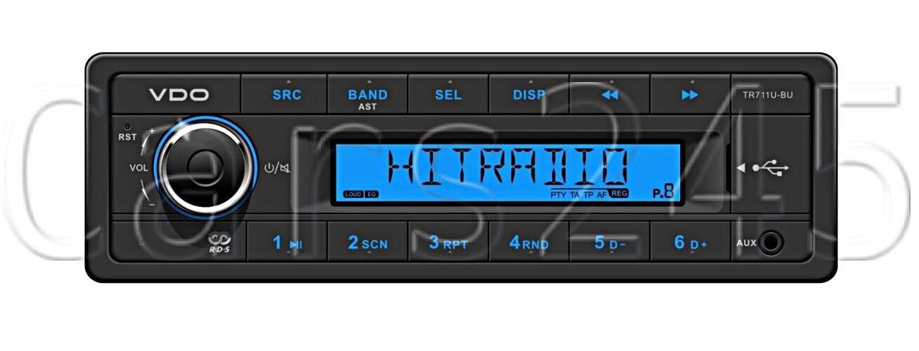 VDO Radio USB MP3 WMA 12V barco TR711U-BU