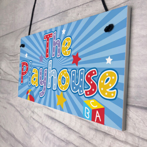 Child/'s Playhouse Hanging Plaque Gift For Daughter Son Kids Room Den Girls Boys