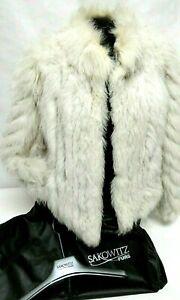 Brand New Sakowitz Silver Fox Fur Jacket Size ML-L w/ Clothing Bag & Hangar