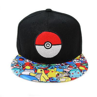 Pokemon Go Baseball Black Hat Poke Ball Embroidery Cap New cosplay