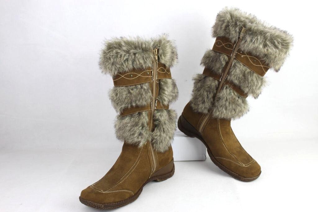 Grandes zapatos con descuento Fashion Damen Stiefel Stiefeletten Boots, Felloptik Braun Gr. 40
