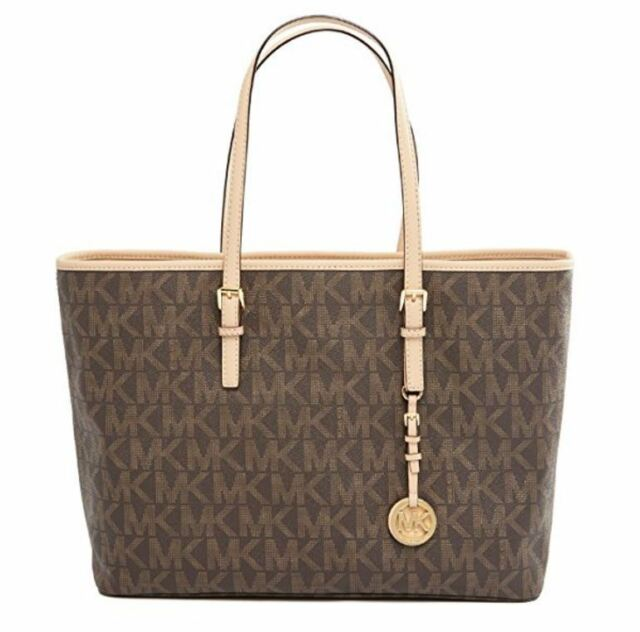 2f1233870338a1 NWT MICHAEL KORS Jet Set Large Multifunction Travel Tote 30T3GTVT6B Brown