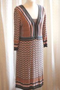 Monsoon-Delicate-Knit-Lined-Retro-Zig-Zag-Design-Dress-Large