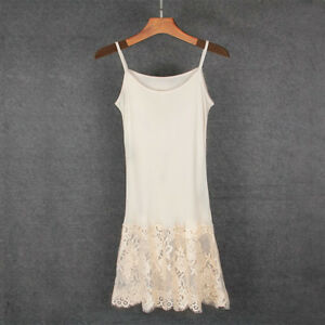 f83b43c0d496 Lady Silk Full Slips Wide Lace Trim Stretchy Under Dress Comfy ...