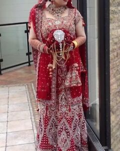 10 Red Lengha Embroidery Heavy Bridal Maroon Silver 12 And Scarf vgtn6q