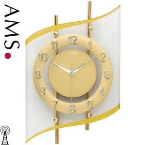 Dettagli su AMS 48 RADIO OROLOGIO PARETE OROLOGIO Golden Orologio da cucina  Orologio da 517