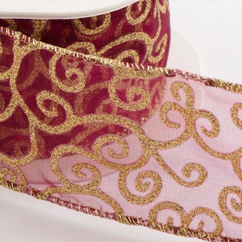 Bord filaire lurex scroll ruban 50mm x 10m rouleau