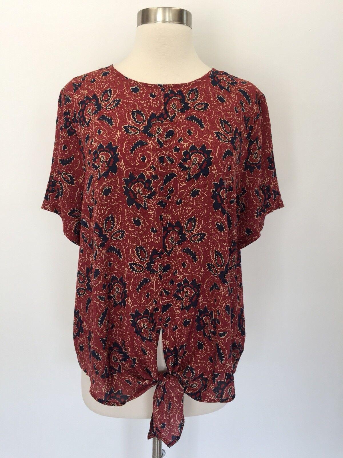 Madewell  silk button-back tie tee in assam floral Blouse Top Größe XL G2072