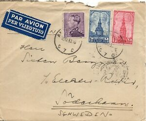 1930-Belgium-Air-Mail-Cover-to-Soderhamn-Sweden