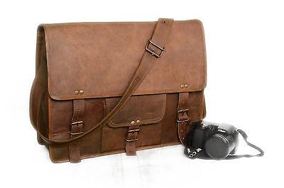 Vintage 18 Inch Leather Messenger Goat Hide Laptop Satchel Bag Briefcase