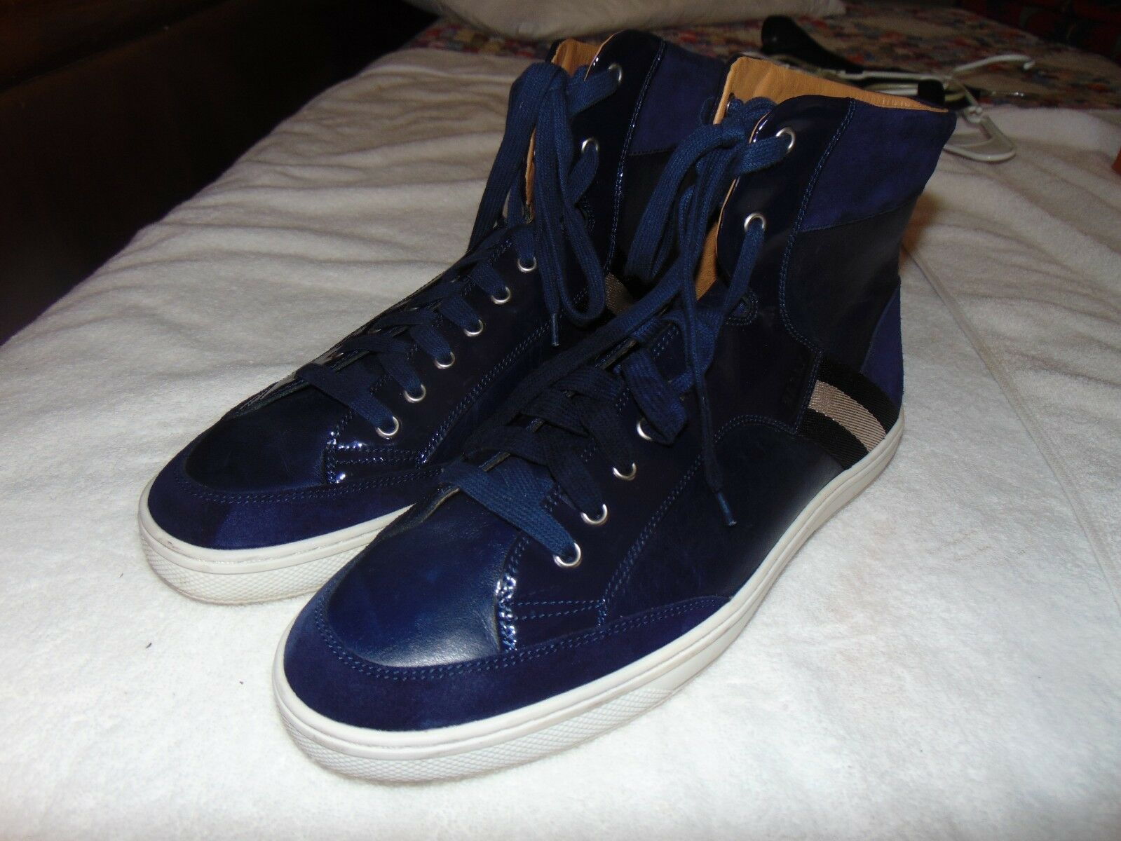 Bally Oldani   146  blueE Mixed-Leather High-Top Sneaker 11.5  D SOLD OUT  599 T