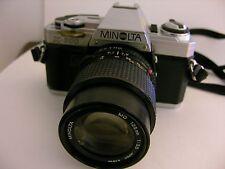 Minolta SLR Camera + Minolta Lens + WORKS Minolta Telephoto SLR Camera Vintage