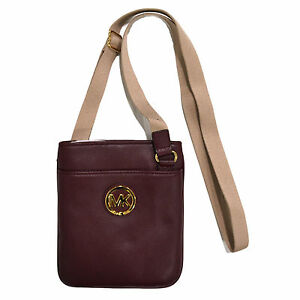 93d4ad061c9d Image is loading Michael-Kors-Handbag-Crossbody-Purse-Fulton-Leather-Claret-