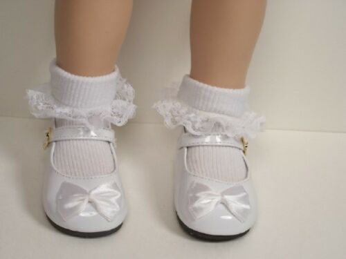 WHITE Patent Mary Jane Doll Shoes w//Satin Bows Fits My Twinn Poseable Debs