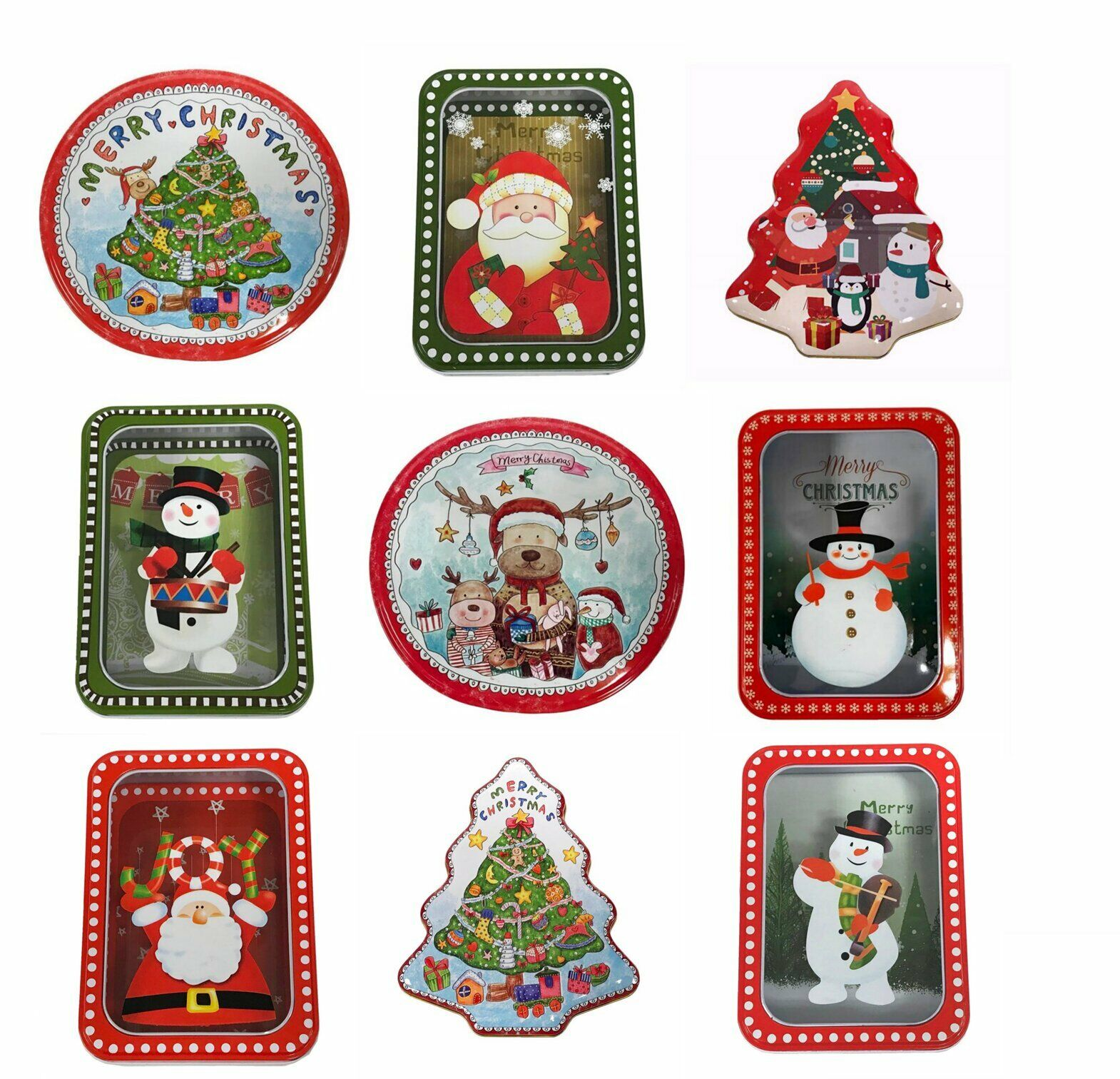 Xmas Christmas Tin Boxes Tins Storage Round Square Transparent Tree Shape UK NEW