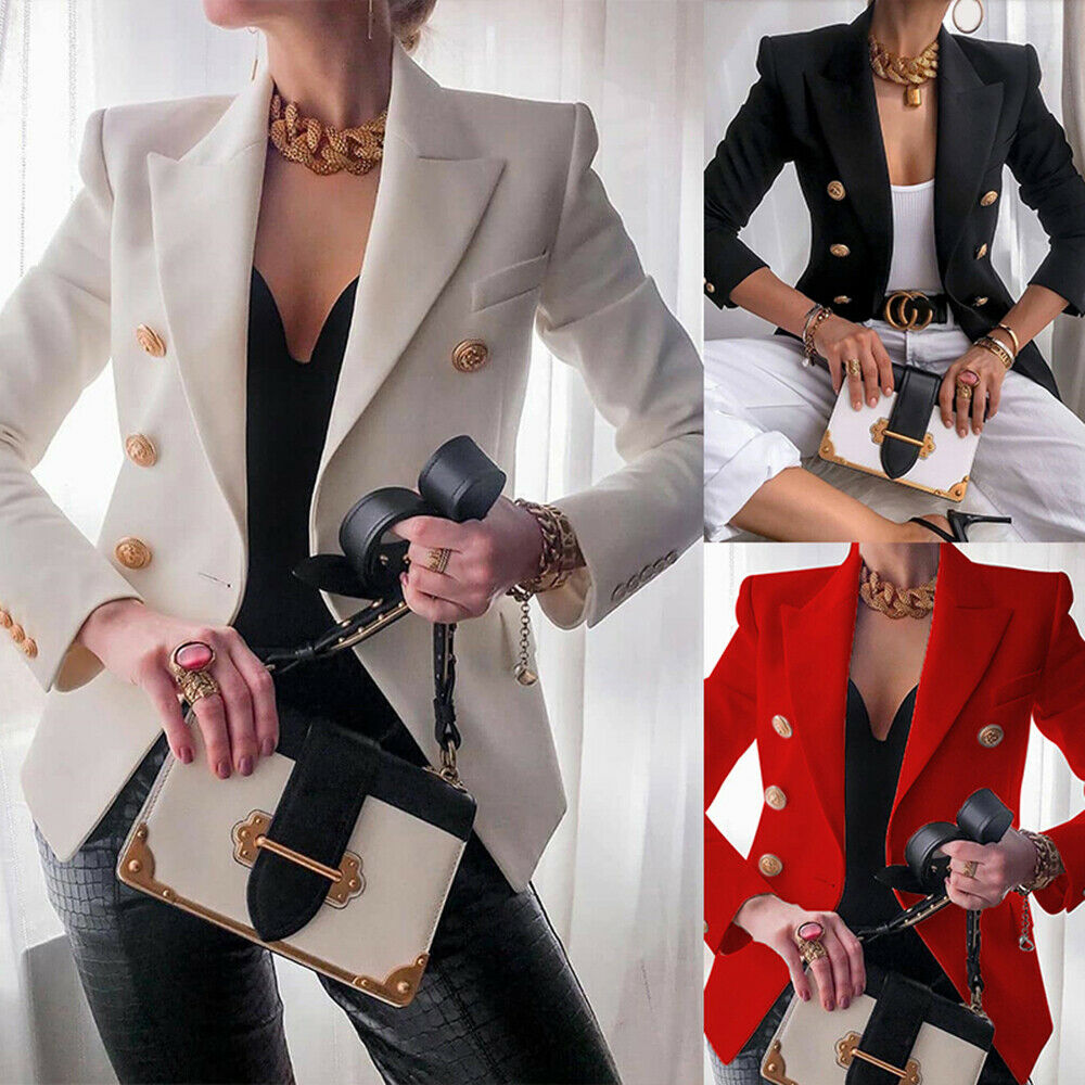 Womens OL Ladies Blazer Stylish Double Breasted Office Formal Suit Jacket Coat